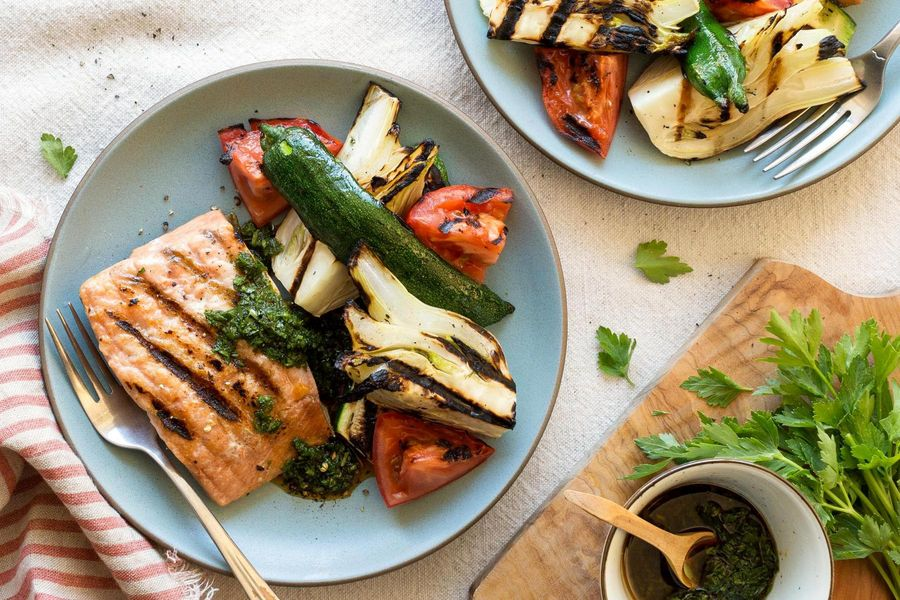 Grilled salmon and summer vegetables with chimichurri