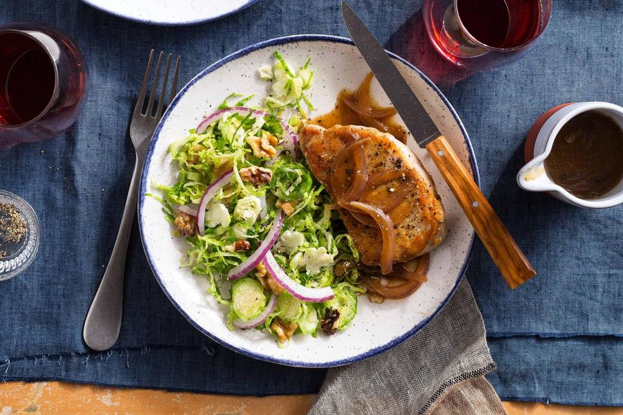 Pork Chops And Onion Gravy With Brussels Sprout Slaw Sun