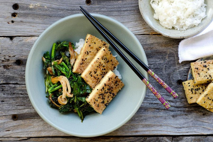 Sesame pepper tofu with Asian greens