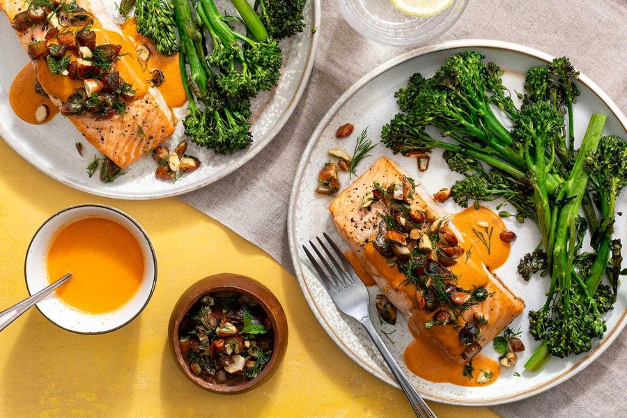 Roasted salmon and broccoli with almond-date tapenade