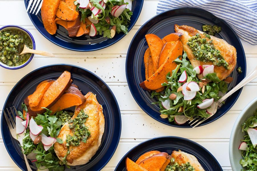 Chicken breasts with salsa verde and sweet potato fries