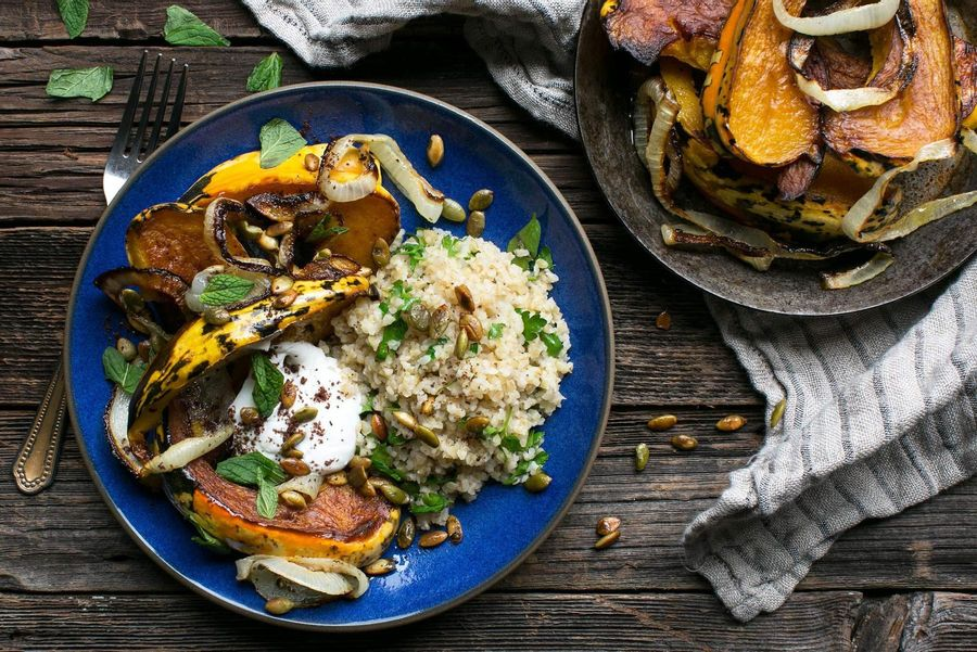 Roasted squash with toasted herb bulgur