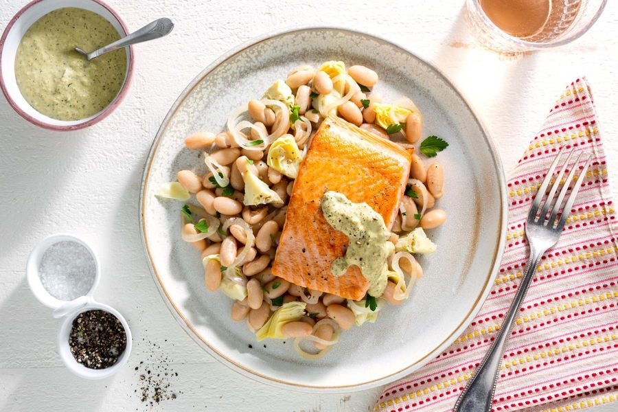 Mediterranean salmon with white bean–artichoke salad