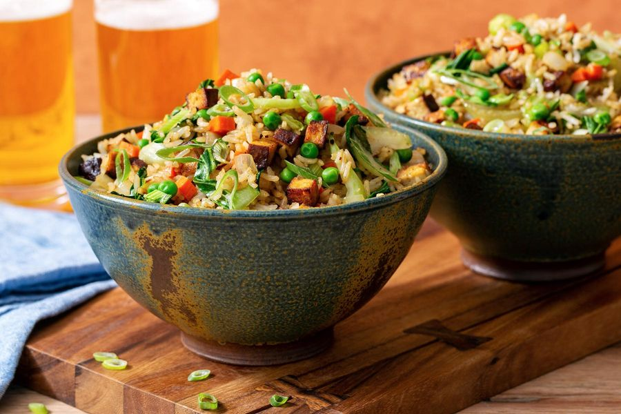 Tofu fried rice with bok choy and peas