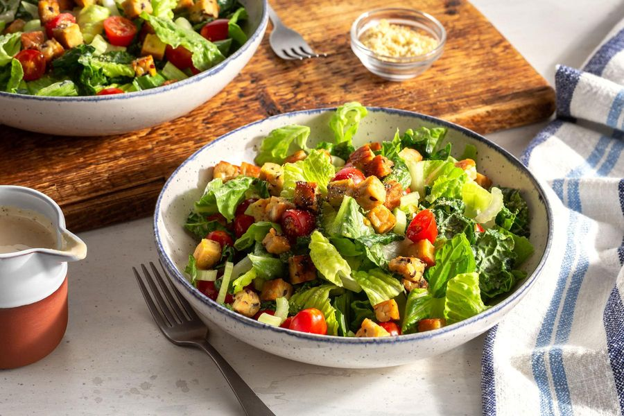Vegan Caesar salad with tempeh croutons