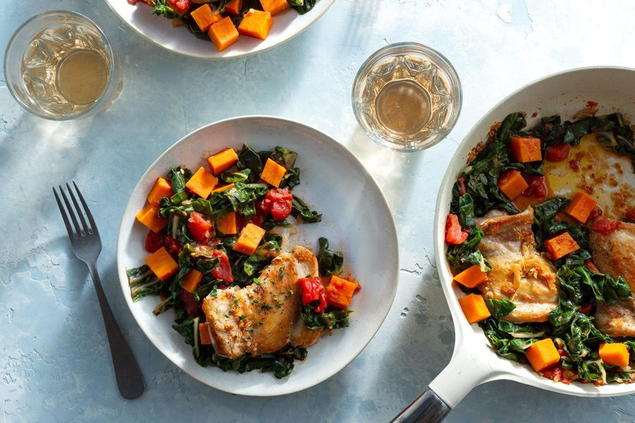 Tomato-braised chicken with sweet potato and chard