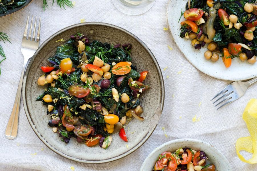 Sautéed kale with chickpeas and tomato-olive relish