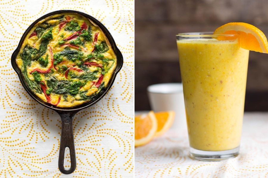 Roasted red pepper and spinach frittata with arugula pesto & Orange-almond smoothies