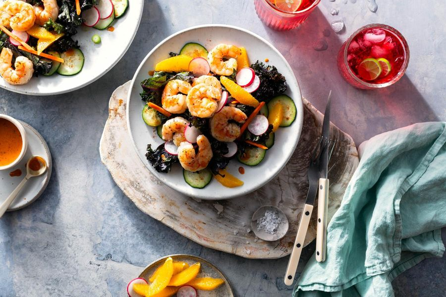 Tulum shrimp with citrus-kale salad and Mayan chipotle dressing