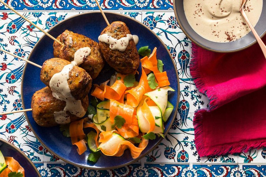 Mediterranean turkey kebabs with carrot and squash ribbon salad