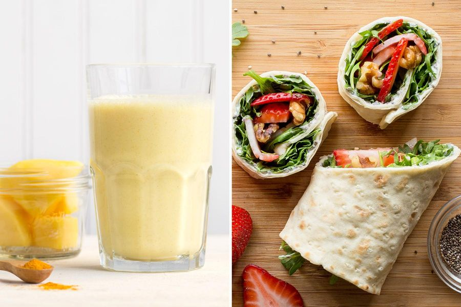 Mango lassi with turmeric & Strawberry-arugula breakfast wraps with honey-lime yogurt