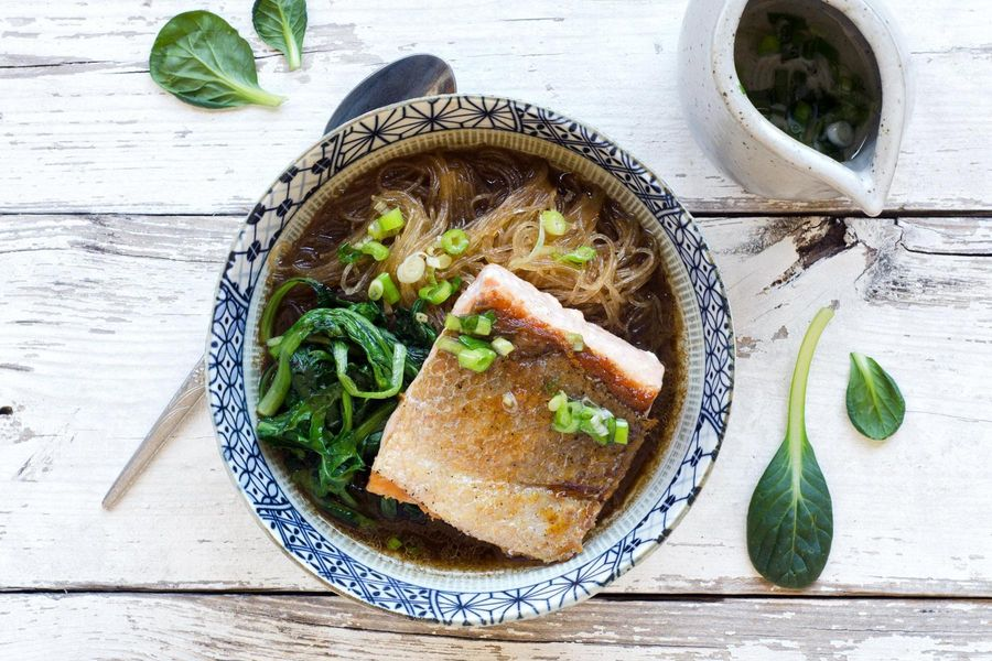 Salmon with glass noodles in miso broth