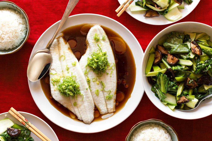 Sizzling ginger-scallion sole with bok choy and jasmine rice