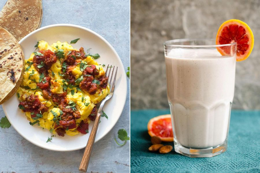 Two breakfasts: Spicy Mexican scramble & Blood orange-almond smoothies