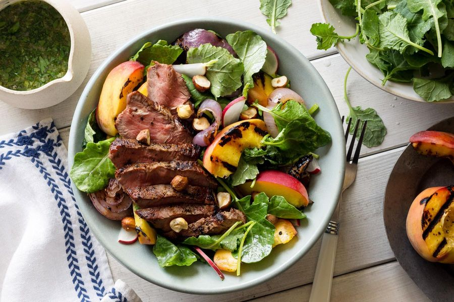Grilled steak and peach salad with kale and ginger-basil ...
