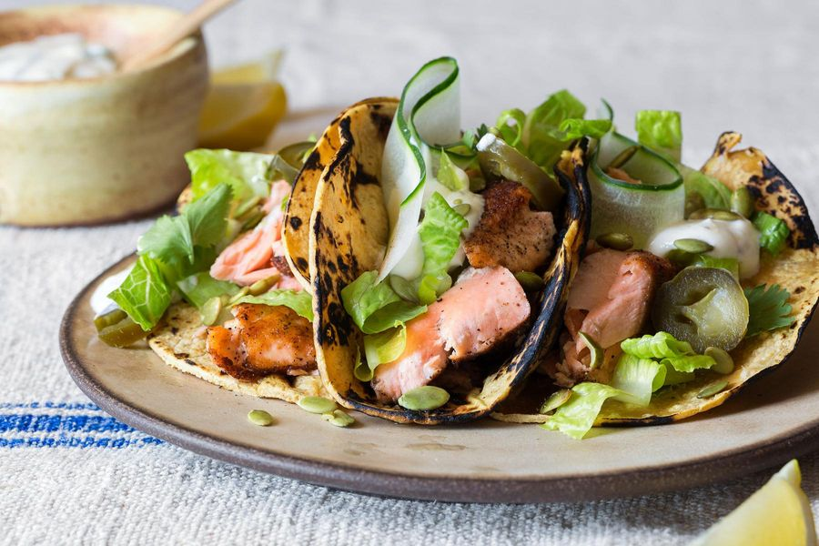 Five-spice salmon tacos with lemon-mint yogurt