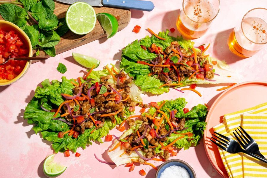 Chicken larb lettuce cups with carrots and fresh mint