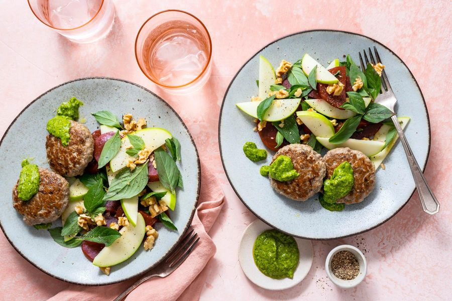 Seven-spice turkey patties with beet salad and spicy green harissa