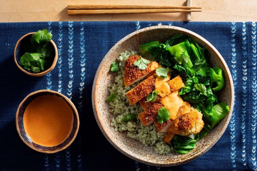 Chicken katsu with gingered greens and spicy chile mayo