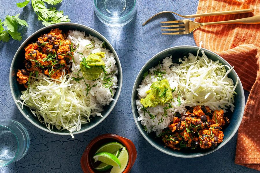 Tempeh burrito bowls with basmati rice, black beans, and guacamole
