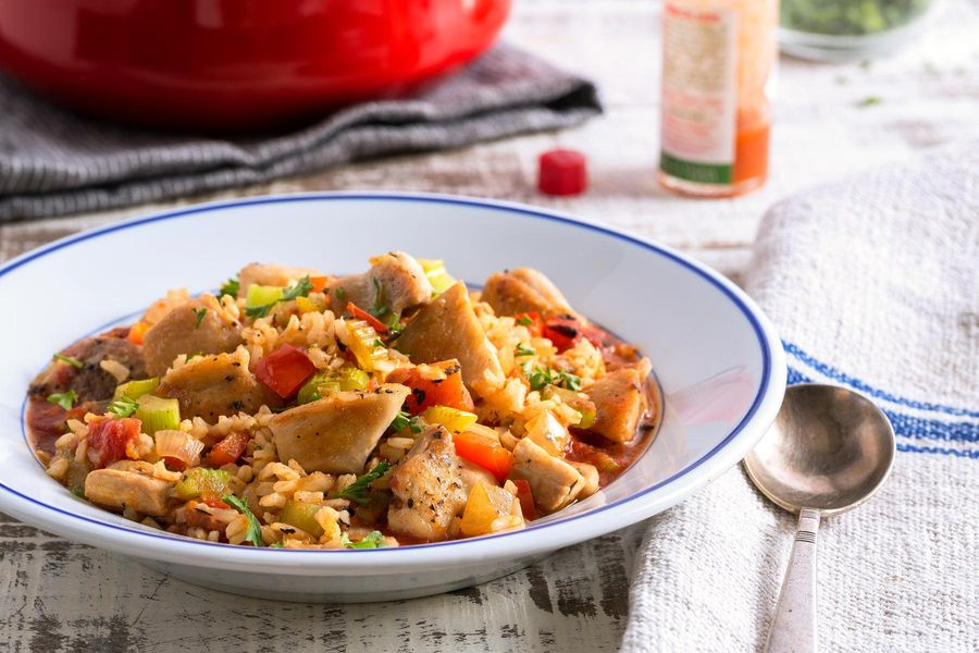 Spicy Creole chicken jambalaya