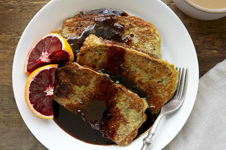 Gluten-free French toast with blood orange syrup