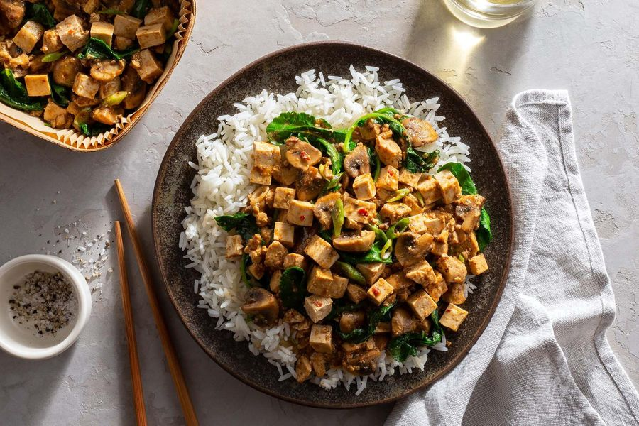 Spicy Sichuan mapo tofu with kale and jasmine rice