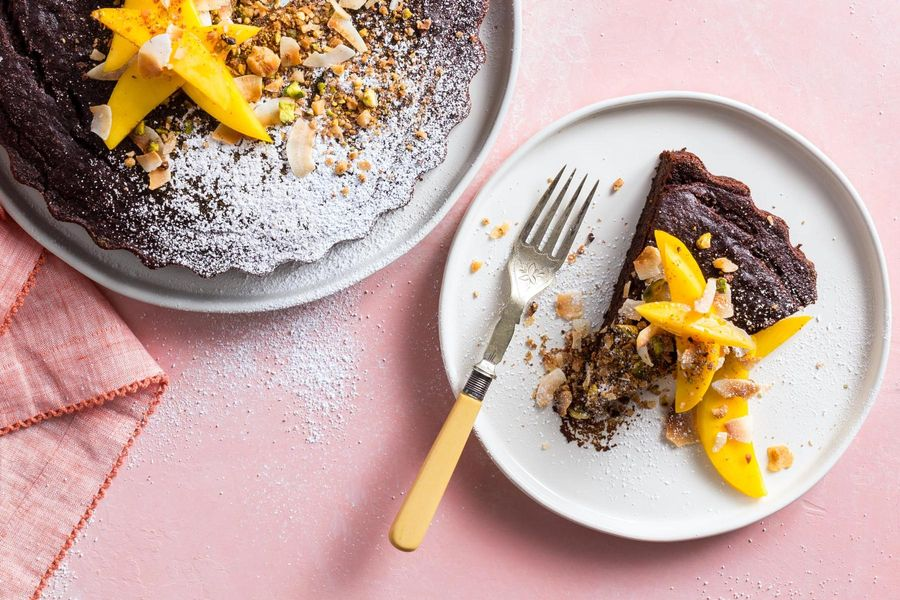 Vegan Chocolate Cake with Sweet Dukkah Topping