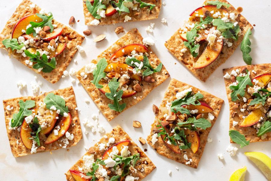 Seared stone fruit and feta flatbreads with green salad