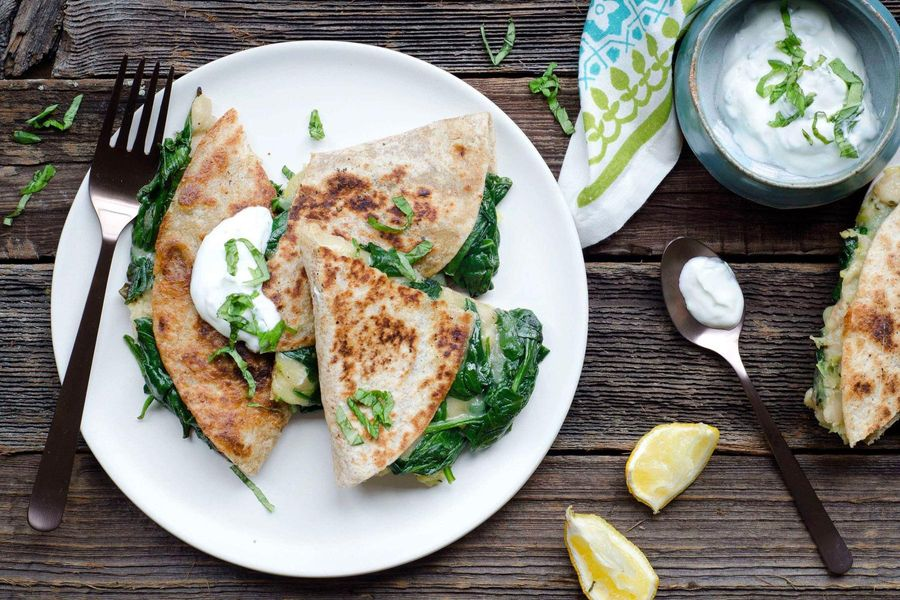 Spinach and white bean quesadilla with basil yogurt