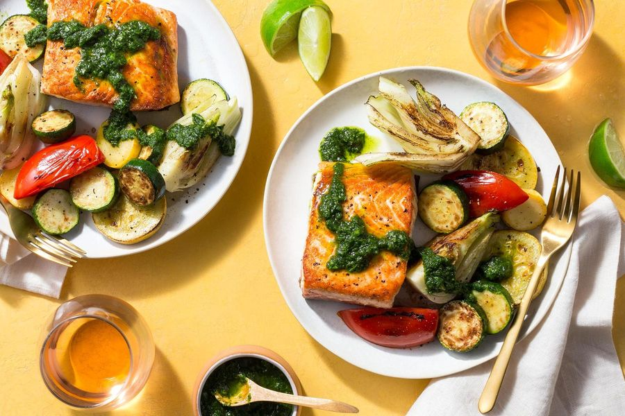 One-pan seared salmon with chimichurri and summer vegetables