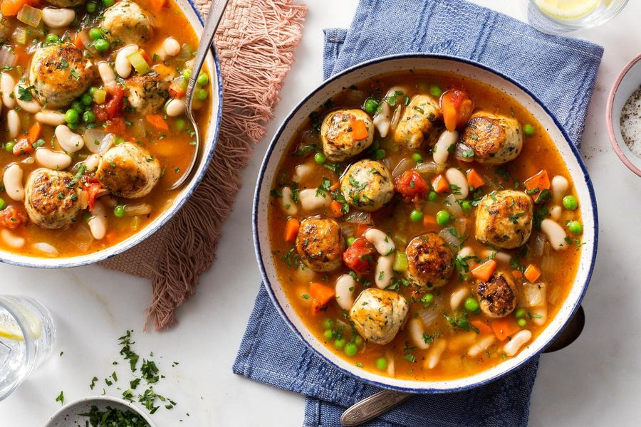 Hearty white bean minestrone with chicken meatballs