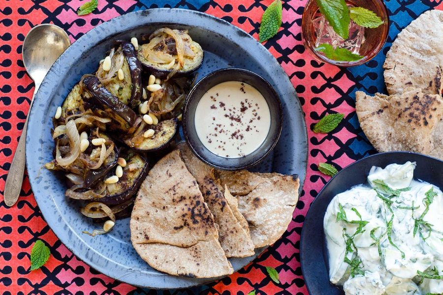 Eastern Mediterranean eggplant with pita and tzatziki