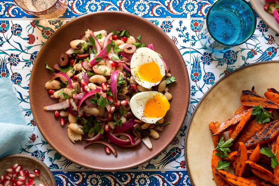 Turkish piyaz salad with roasted carrots and soft-cooked eggs