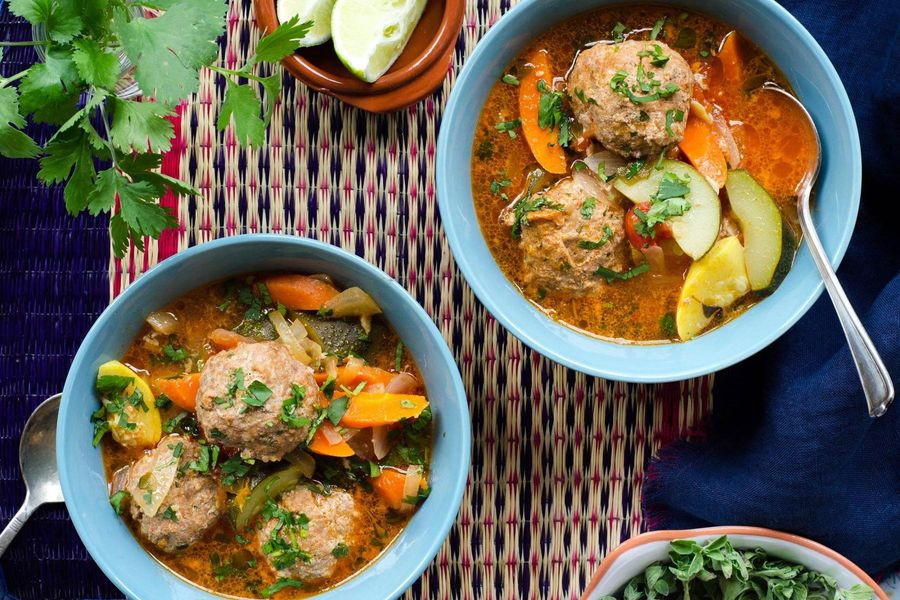 Beef and chorizo albondigas soup