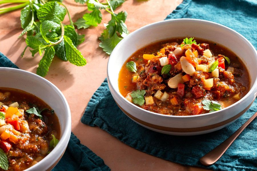 Guatemalan turkey soup with white beans and fresh herbs
