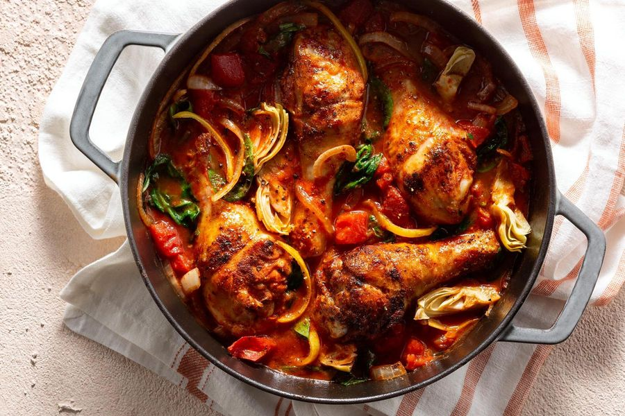 Chicken tagine with preserved lemon and artichokes