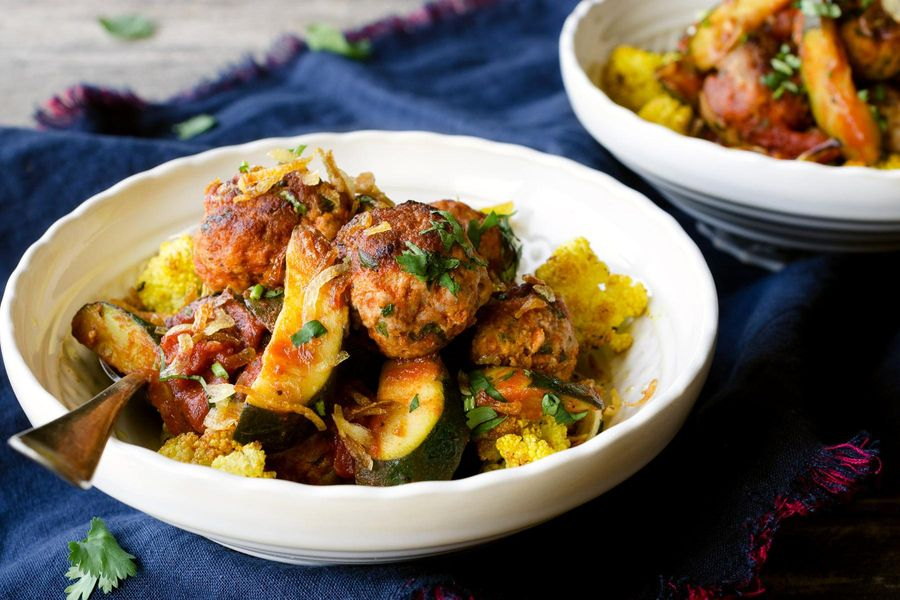 Mumbai turkey meatballs with zucchini and curried cauliflower