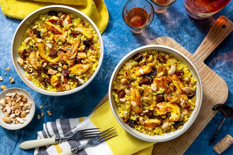 "Balinese chicken stir-fry with coconut-turmeric cauliflower ""rice"""