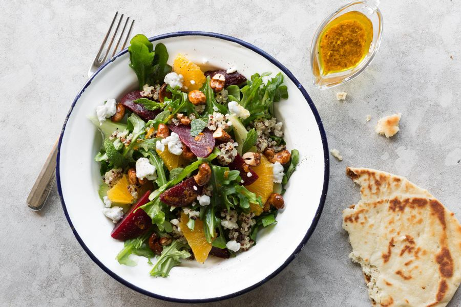 Beet, goat cheese, and quinoa salad with curry vinaigrette