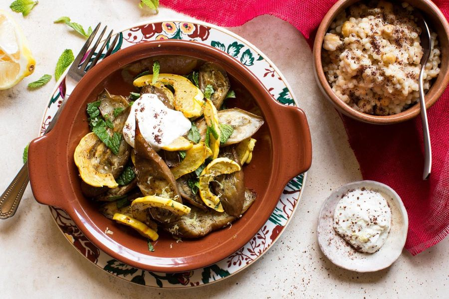 Roasted fall vegetables with pearl couscous and lemon-yogurt sauce