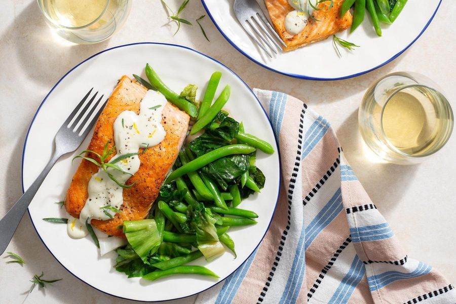 Salmon with lemon-garlic aioli, escarole, and green beans