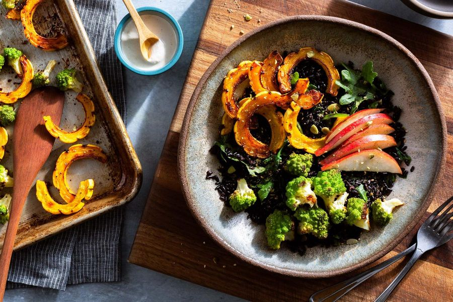 Black rice bowls with winter vegetables, pear, and cashew dressing