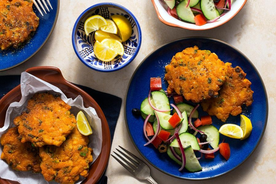 Spanish sole fritters with tomato-cucumber salad