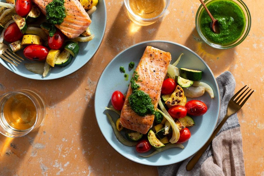 Seared salmon with chimichurri and Provençal vegetables