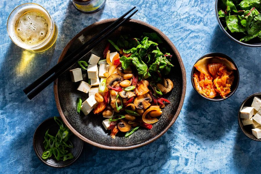 Dubu kimchi stir-fry with tofu and quick-pickled chard