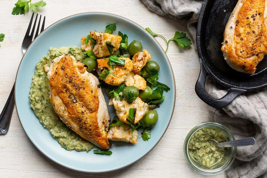 Roast chicken breasts with spiced cauliflower and green romesco