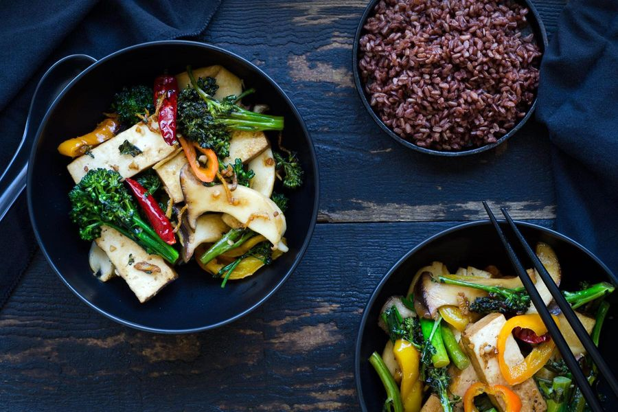 Five-spice braised tofu stir fry
