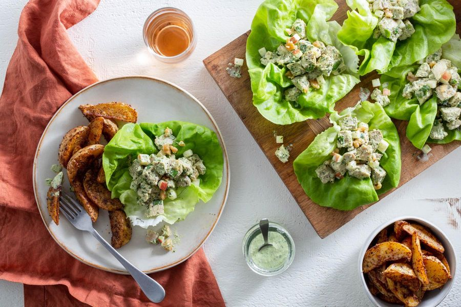 Green Goddess chicken salad lettuce cups with potato wedges
