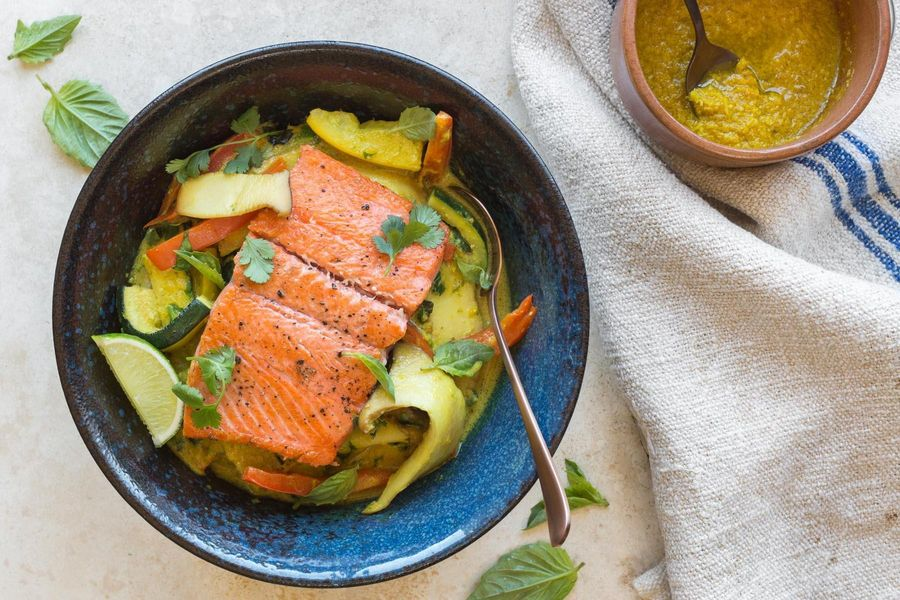 Seared salmon with lemongrass-coconut curry